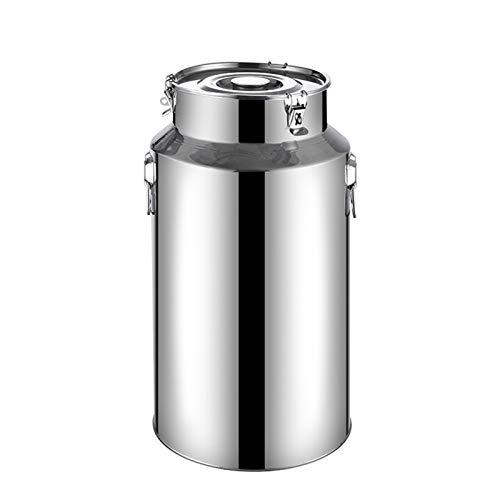 WKDZ Caja de leche de acero inoxidable, acero inoxidable espesar barriles de transporte de leche TEECANISTER Cubierta de silicona para guardar líquidos (tamaño: 5L)