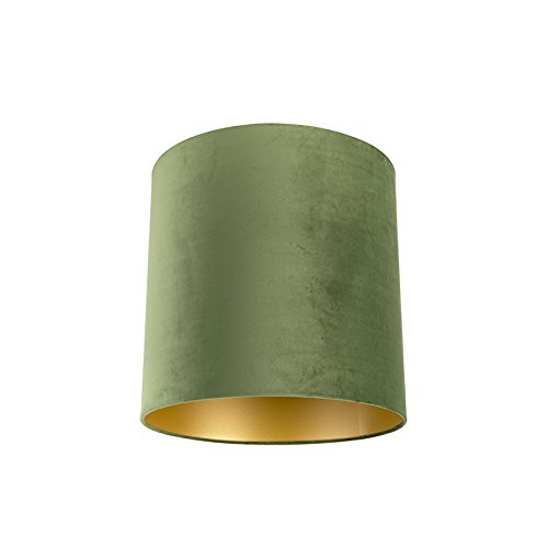 QAZQA Baumwolle Velour-Lampenschirm grün 40/40/40 mit Gold/Messingener Innenseite, Zylinder Schirm Pendelleuchte,Schirm Stehleuchte