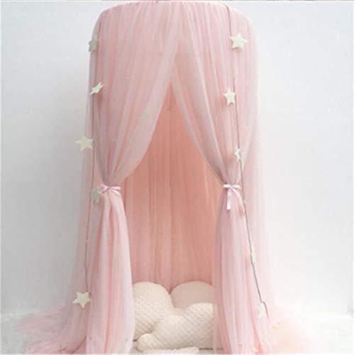 Ciel de lit rond en coton, filet pour rideaux en forme de dôme Moustiquaire ciel de lit Tente de lit, Ciel de lit pour bebe fille garçon Maison de jeux, décoration de chambre, élasthanne.