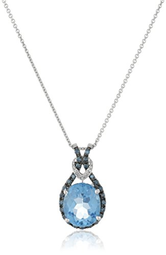 Jewelili Sterling Silver Blue Topaz Oval with Blue and White Diamond Knot Pendant Necklace, 18' Rolo Chain