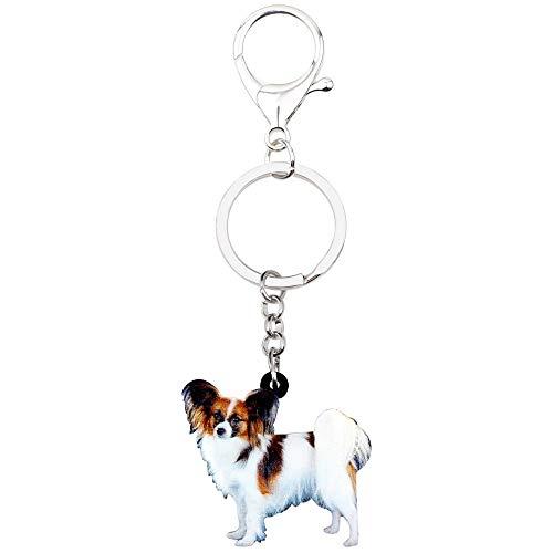 GPZEDCDB Schlüsselanhänger Schlüsselring Acryl Papillon Hund Schlüsselanhänger Schlüsselbund Ringe Schmuck Für Frauen Mädchen Handtasche Auto Geldbörse Charms Anhänger Haustier Zubehör