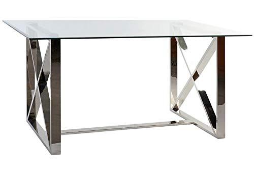 DRW Mesa de Comedor de Cristal y Acero en Transparente y Cromado 150x87x75cm