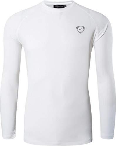 jeansian Hombre Deporte Proteccion Solar UPF 50+ UV Camiseta Men Sport T-Shirt LA245 White XL