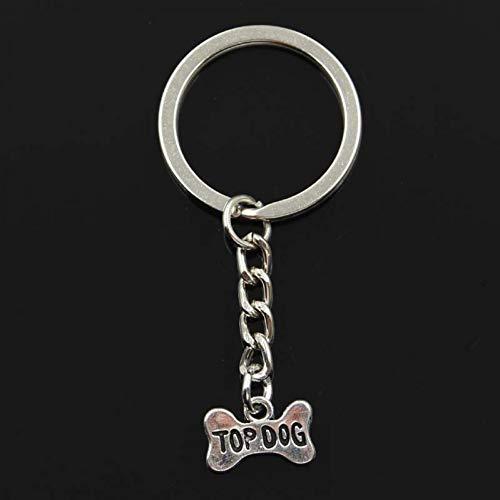 N/ A ZHTTCD Fashion top hond bot naamplaat 10x16mm Hanger 30mm Sleutelhanger Metalen Ketting Zilveren Mannen Auto Gift Souvenirs Sleutelhanger