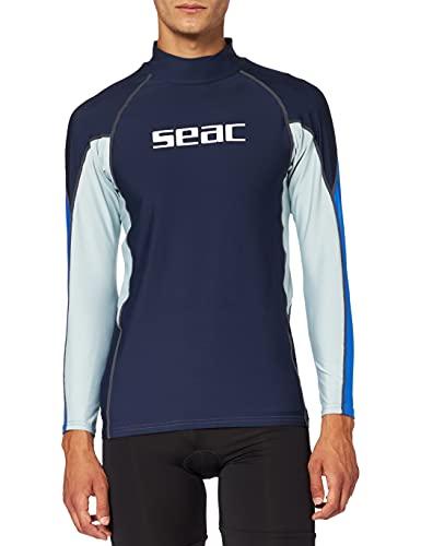 SEAC RAA Long EVO Camiseta para Snorkeling y Natación con Protección UV, Hombre, Azul Claro, L