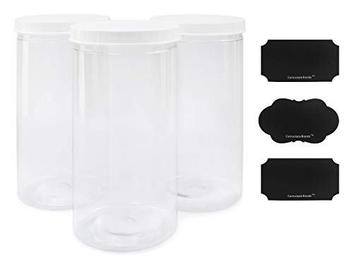 Tall Clear Plastic Canisters w Lids and Labels (3-Pack, 2.5 quart / 10 cup capacity); 10-inch High BPA-free PET Plastic 80oz Jars Great for Food & Home Storage, White Lids, Chalk Labels