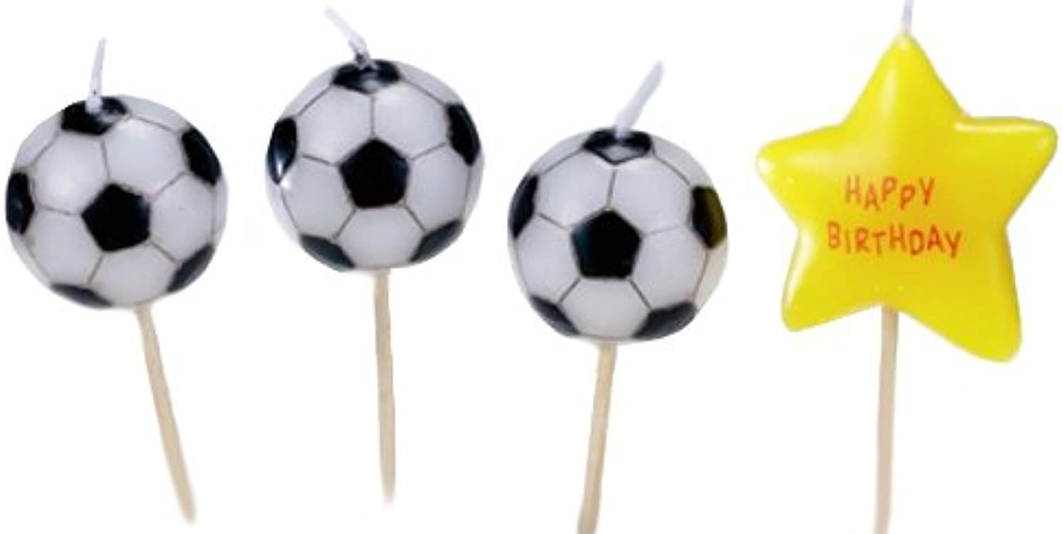 Biedermann & Sons Set of 4 Sports Theme Birthday Candles, 12 Packages, Soccer