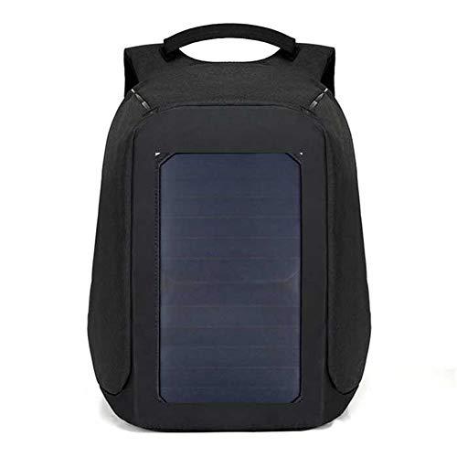 WOCTP Outdoor-Rucksack mit Solarpanel, Diebstahlschutz, für Reisen, Business, Freizeit, Sport, Outdoor, Wandern, Radfahren, Schüler, Multifunktionaler Schulrucksack, schwarz