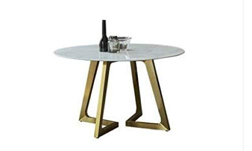 Eettafel LKU Onderhandelingstafel en stoel combinatie moderne minimalistische marmeren eettafel ronde salontafel, 100CM
