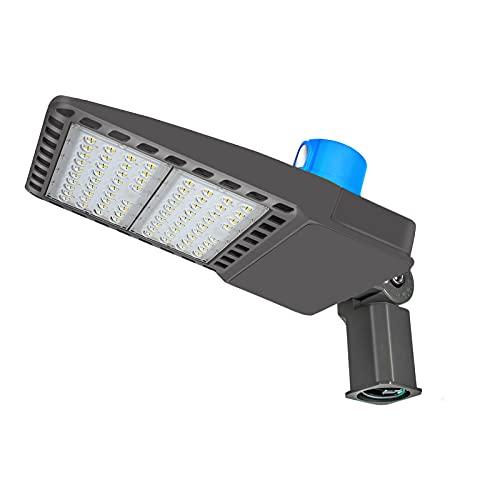 300W LED Parking Lot Lighting, ETL Listed Commercial LED Area Lighting 39000LM, 5500K Daylight White with Dusk to Dawn Photocell, IP65 Waterproof Led Shoebox Light (300W Slip Fit)