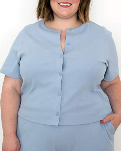 The Drop Women's Fog Blue Button-Down Rib Cardigan by @itsmekellieb