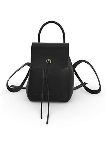 YOUBAG Kaila Backpack S - handgefertigter Designer Rucksack für Damen aus italienischem Leder - edles Glattleder in schwarz