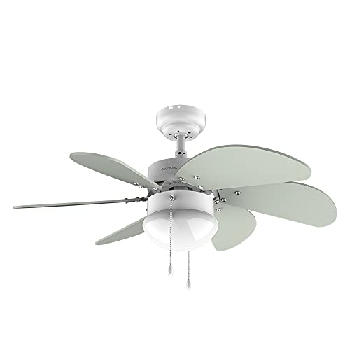 Cecotec Ventilador de techo EnergySilence 3600 Vision Mint. 50 W, Diámetro 92 cm, Lámpara, 3 Velocidades, 6 Aspas reversibles, Función Verano/Invierno, Interruptor de Cadena, Blanco/Menta
