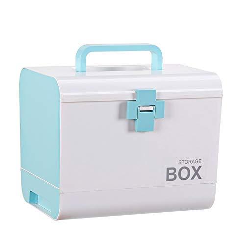 QD-SGMP 救急箱 薬箱 おしゃれ 大容量 引き出し 鍵つき 収納ボックス 薬 入れ 小物入れ 十字ロック くすり箱 メディカルボックス 医療箱 応急処置 家庭用 車載用(ブルー)