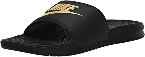 Nike Mens Benassi Slide Sandal, Black/Metallic Gold, 44 EU