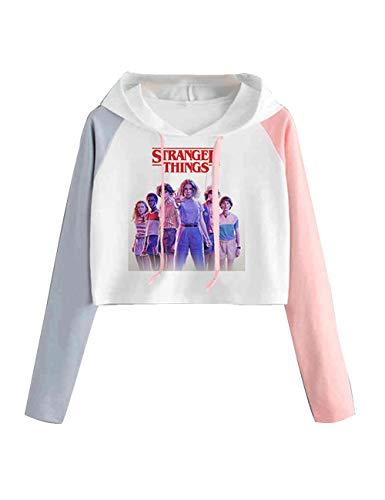 Pull Stranger Thing Fille, Sweat Stranger Things Femme Sweat Shirt Court Ado Fille Couleur de Contraste Sweat-Shirt à Capuche Chic à La Mode Pas Cher Pullover Sport Streetwear (1-59,S)