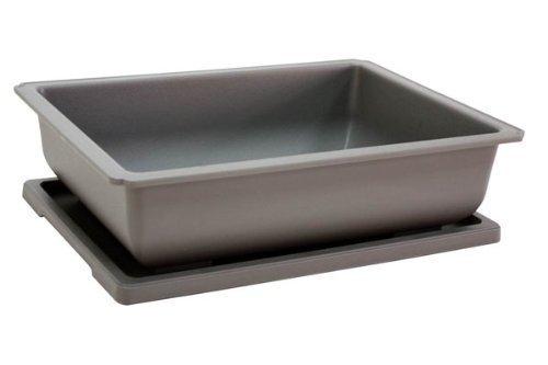 Bonsai Tree Plastic Training Pot and Matching Tray in Grey - 24cm x 17cm x 7cm
