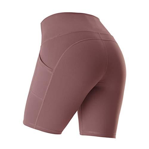Veluckin Shorts Deportivos de Yoga Pantalones Cortos Deportivos, para Mujer, con Bolsillos Laterales
