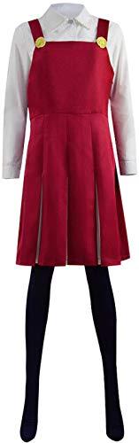 Qian Qian Damen Eri Kostüm Halloween Cosplay Rotes Kleid Weißes Hemd Schwarze Strümpfe Outfit (Mass angefertigt, Rot)