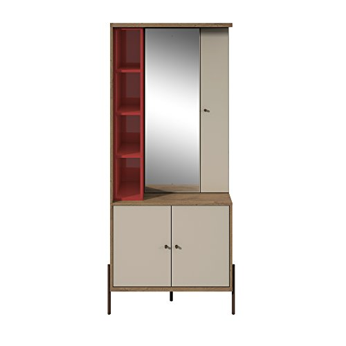 Manhattan Comfort Joy Series Large Bedroom Storage Jewelry Vanity Armoire, Red/Off-White