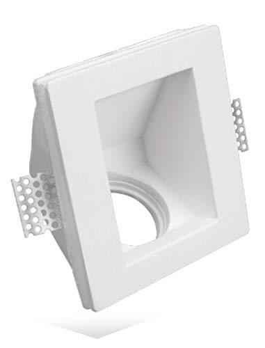 Porte Spot Carré avec angle de 45 ° en plâtre céramique à disparition pf7 Lot de 10 pièces + Douille GU 10 pour ampoules lED