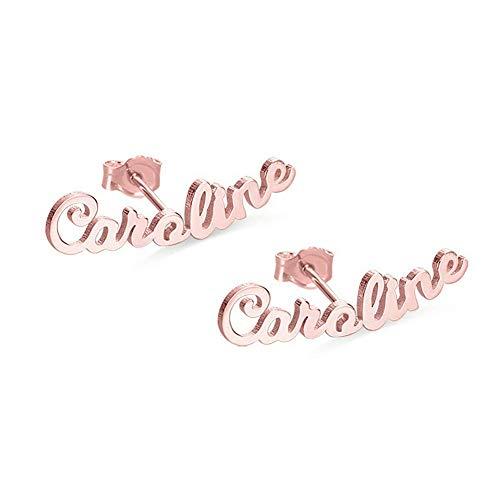 Compleanno Anniversario Festa della Mamma Regali Per Le Donne - Orecchino Personalizzato Con Nome, Personalizzare Acciaio Inossidabile Orecchini Nozze Regali di Natale (Oro Rosa)