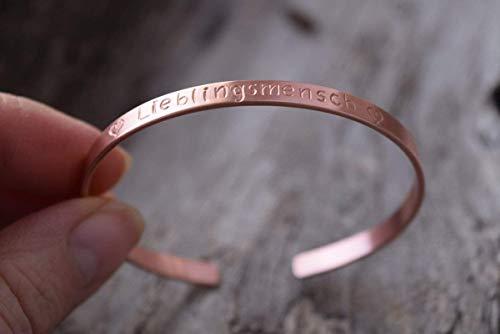 Kupfer Armreif mit Gravur, Heilstein Armband, Trauzeugin, Hochzeit, Schwester Armband, Gravur, Koordinaten