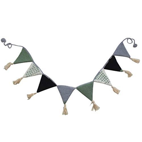 STOBOK Dreieck Wimpel Fahnen Banner Baumwolle Häkeln Girlande Girlande Dekoration für Geburtstag Baby Shower Kinderzimmer (grün)