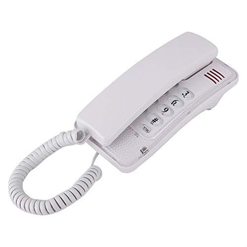 Bewinner Teléfono Cableado,Teléfono Fijo con Función de Flash/Silenciamiento/Última Remarcación de Números,Teléfono de Escritorio para Casa,Oficina,Hotel(Blanco)