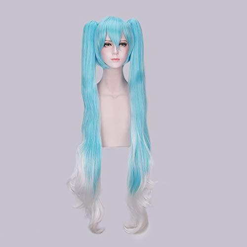 Anime de alta calidad Vocaloid Hatsune Miku Peluca sintética Juego de disfraces Juego Pelucas Cosplay miku Pelucas de pelo azul ondulado largo + gorro de peluca Talla única PL-823