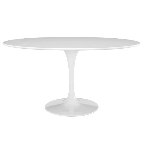 Modway Lippa 60' Mid-Century Modern Kitchen and Dining Table with Oval Top and Pedestal Base in White