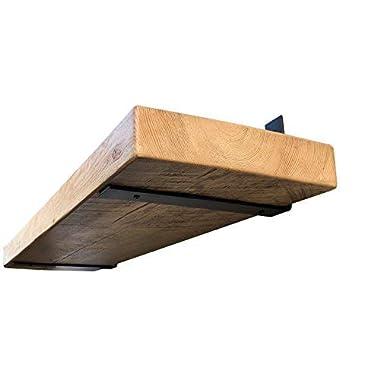 DIY CARTEL Industrial Forged Steel Floating Shelf L / J Bracket - Heavy Duty Rustic Shelf Brackets- Raw Metal/Steel Floating Shelf Hardware MADE IN THE USA - 2 Pack Wall Mount Shelf Brackets