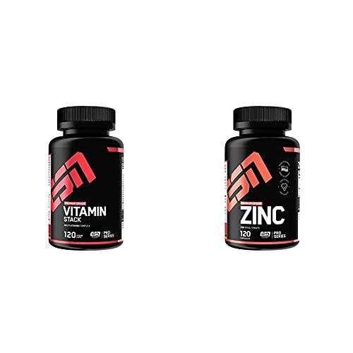 ESN Vitamin Stack, 120 Kaps & Zinc, Pro Series, 120 Kapseln, 1er Pack (1 x 90 g)