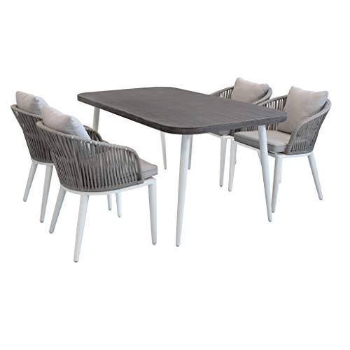 Milani Home s.r.l.s. Set Tavolo Giardino 160 X 90 con 4 Poltrone in Alluminio Bianco, Grigio Effetto Legno, Intreccio in Rattan Sintetico per Esterno