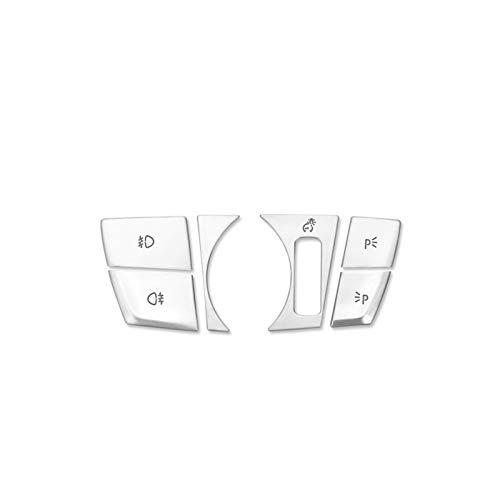 Accesorios de Interior Botones De Interruptor De Faro Lentejuelas Decoración Embellecedor De Cubierta 6 Uds para B-MW 5 Series G30 G38 2018 Estilo De Coche Modificado