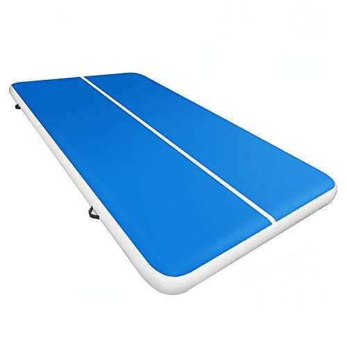 BuoQua Colchoneta de Entrenamiento Inflable Giratoria 500 x 200 x 20 cm, Pista de Aire Inflable de Tela Laminada de PVC con Color Azul + Blanco, Alfombrilla Hinchable con Técnica de Sellado por Calor
