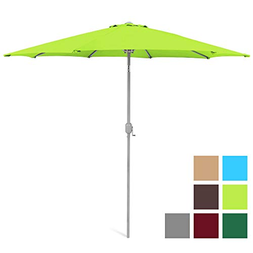 Best Choice Products 9ft Outdoor Water/UV-Resistant Market Patio Umbrella w/Crank Tilt Adjustment, 180G Polyester, Wind Vent, 1.5in Diameter Aluminum Pole - Light Green