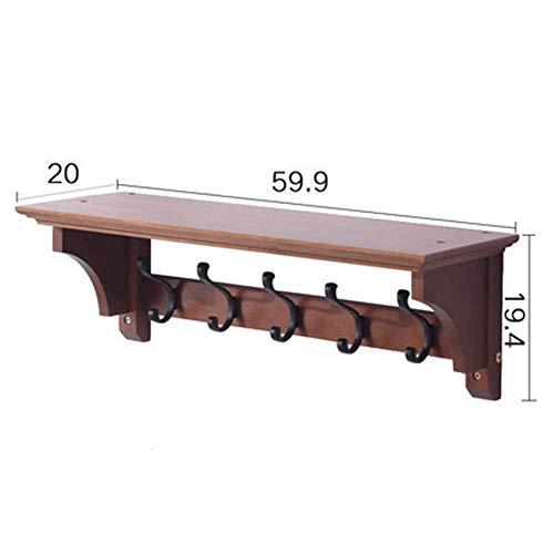 WAJI Wandrek, bamboe kapstok plank, aan de muur gemonteerde kledingrek, handdoekenrek, badkamerkast met 5 haken, hal, woonkamer met gang ingang