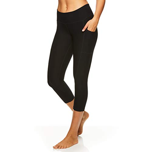 Reebok Women's Printed Capri Leggings with Mid-Rise Waist Cropped Performance Compression Tights - Black Night Quick Capri, Small