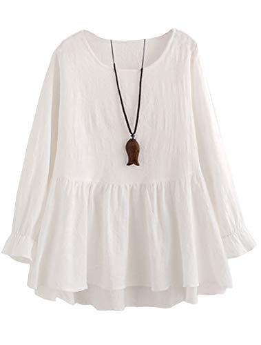 Mallimoda Damen Tunika Kleid Langarm Freizeit Oberteil Rundhals Lange Shirts Bluse Top Weiß XL