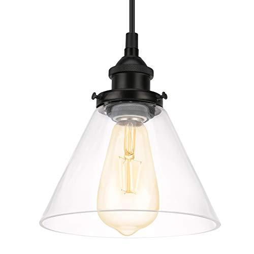 Lovebay Lámpara de Techo Vintage Vidrio Colgante de Luz E27 Industrial de Cristal Transparente tulipa Iluminación colgante Lámpara Colgante de Techo para Salón Cocina Cafetería (Bombilla No Incluída)