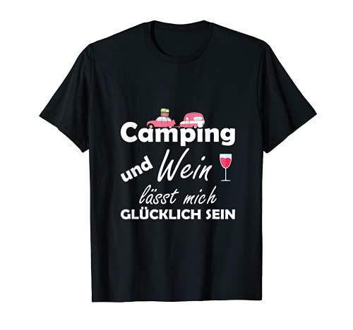 Camping und Wein lässt mich glücklich sein T-Shirt