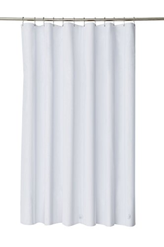 Pinzz poliestere resistente alla muffa Tenda per doccia in tessuto con anelli da tenda e orlo caricato White180X200
