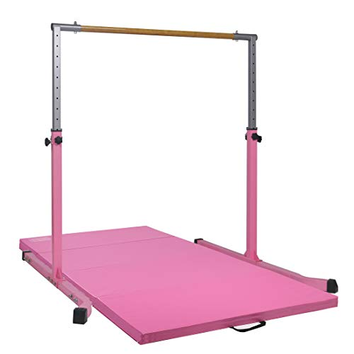 Best Review Of gymmatsdirect Adjustable Gymnastics Junior Training Horizontal Kip Bar with Mat for G...
