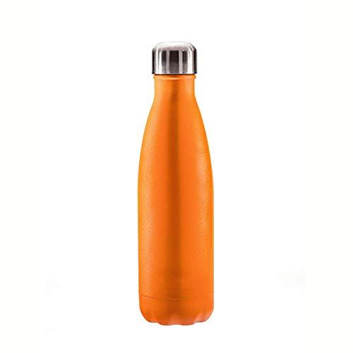 Tasse froide 500 ml de l'isolation de vide de balle créative extérieure portative de flacon d'acier inoxydable (Couleur : Orange)