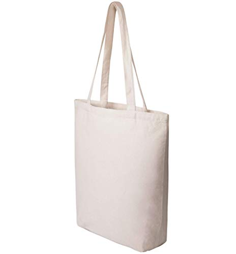 Heavy Duty and Strong Large Natural Canvas Tote Bags with Bottom Gusset for...