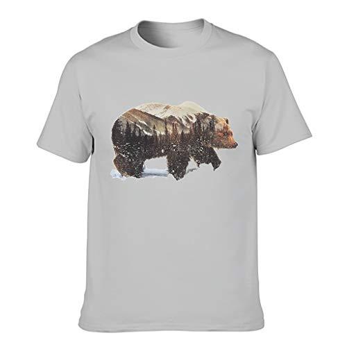 Lind88 Camiseta de algodón de oso y abeto para hombre, manga corta personalizada