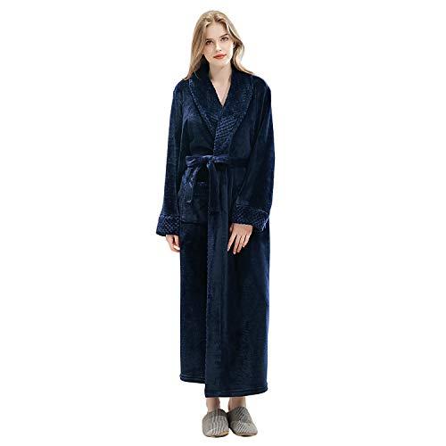 Long Bath Robe for Womens Plush Soft Fleece Bathrobes Nightgown Ladies Pajamas Sleepwear Housecoat (Navy Blue, L/XL)