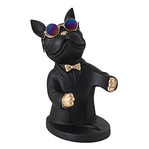 Bulldog Wine Holder, Fashion French Romance Bulldog Wine Rack for Home Decor, Gift for Birthday, Father's Day, Graduation Season, Thanksgiving Day, Halloween, Christmas (Black)