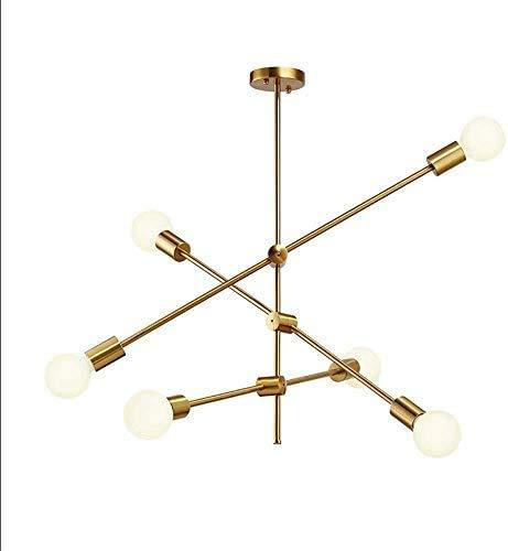 GJFDCP Chandelera geométrica Minimalista Creativa, iluminación Moderna de araña, lámpara E27-6, lámpara de Techo Antiguas, decoración del hogar,